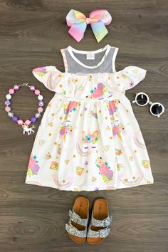 White Unicorn Off Shoulder Dress - Sparkle In Pink Kids Outfits Girls, Toddler Girl Outfits, Little Girl Dresses, Toddler Dress, Flower Girl Dresses, Little Girl Fashion, Kids Fashion, Latest Fashion, Fashion Trends