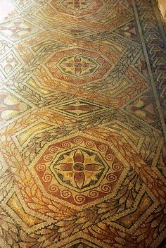 Roman Villae of La Olmeda, west gallery, Spain. #mosaic #tile
