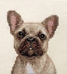 An Original counted cross stitch kit by Fido Stitch Studio. Fawn French Bulldog. This 'mini' stitch kit could be completed in a few hours. This kit contains everything you need to complete your project. | eBay!