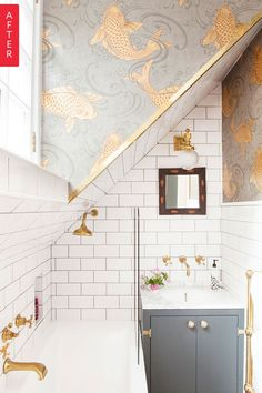 This might be possibly the tiniest full bathroom I have ever seen. You can't even stand up in the tub! But where you and I might see only a small, cramped, and rather dreary space, blogger Emily Murray, of The Pink House, only saw potential.