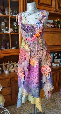 Bohemian Upcycled long skirtboho chic gypsy fairy by irinacarmen
