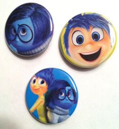 "3 Disney/Pixar's Inside Out Pin-Back Buttons/Badges - 1 1/4"" - Free Shipping"