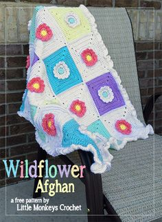 Wildflower Granny Square Afghan | Little Monkeys Crochet, free pattern