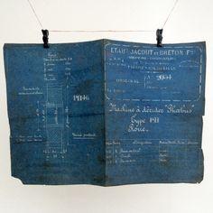 #French #industrial engineering #blueprint by VintageCuriosityShop…