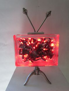 Homemade upcycled glass block retro TV lamp with antenna for beautiful mood lighting.. $150.00, via Etsy.