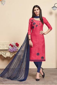 Pink Cotton Jacquard Embroidered Straight Churidar Suit Latest Salwar Suit Designs, Suits For Women, Clothes For Women, Suits Online Shopping, Jacquard Dress, Jacquard Fabric, Cotton Fabric, Salwar Kameez Online, Embroidery Dress