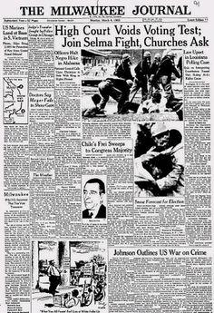 March 8, 1965.  Selma, Vietnam Escalation.