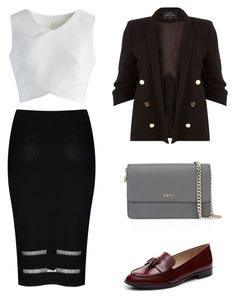 """""""Clean & Slick"""" by amlhrs ❤ liked on Polyvore featuring Glamorous, Chicwish, River Island, Via Spiga and DKNY"""