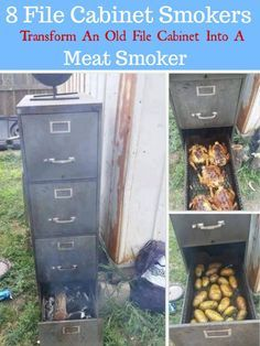 8 File Cabinet Smokers-Turn An Old File Cabinet Into A Meat Smoker . Smoker Cooking a meat smoker Build A Smoker, Diy Smoker, Build A Bbq, Filing Cabinet Smoker, Filing Cabinets, Homemade Smoker Plans, Homemade Bbq, Bbq Grill, Grilling