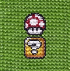 Ribbons, Lace and Buttons: CROSS-STITCH: Super Mario Bros. Mushroom & Block