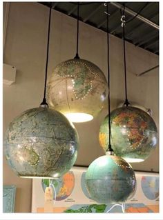 Httpsfacebooktheshabbycreekcottagephotosa upcycled world globe we give you ideas how to recycle toys and educational world globes as a pendant diy lamp for your cheap but unique home vintage design gumiabroncs Images