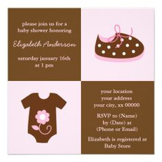 Pink Baby Shoes and Outfit Baby Shower Custom Invites