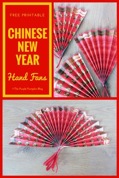 These free printable Chinese New Year paper hand fans are easy to make, and are a fun party favor or table decoration for your Chinese New Year celebrations! Pig Crafts, New Year's Crafts, Crafts For Kids, Horse Crafts, Chinese New Year Party, New Years Party, Chinese Birthday, New Year Printables, Free Printables