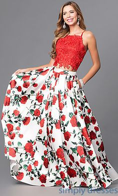 Shop junior-size prom dresses at Simply Dresses. Two-Piece long formal dresses with floral-print skirts, embroidered-lace crop tops and pockets.