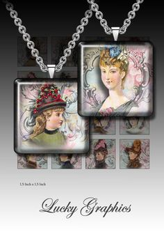 Digital collage sheet 1,5 inch squares for resin jewelry Printable Download Images Set 65