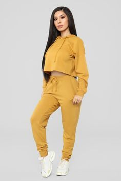 Black Girl Fashion Discover Latest And Greatest French Terry Crop Hoodie - Mustard Swag Outfits For Girls, Cute Swag Outfits, Teen Fashion Outfits, Sporty Outfits, Dance Outfits, Trendy Outfits, Fall Outfits, Fashion Nova Jumpsuit, Joggers Outfit