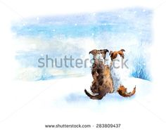 Two dog. Dog`s meeting. Russian winter. Puppies composition. Watercolor hand drawn illustration.