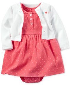 Carter's Baby Girls' 2-Pc. Hello Cutie Heart-Print Bodysuit Dress & Cardigan Set $12.98 Dainty little hearts lend sweetness to this comfy Carter's bodysuit dress, with is perfectly matched with a darling heart-detail cardigan sweater for your baby girl in this set.