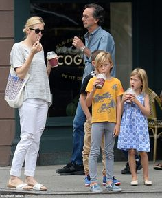 Simple pleasure: Kelly Rutherford treated her son Hermes, eight, and daughter Helena, six ...