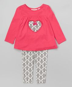 Look what I found on #zulily! Pink Damask Heart Tunic & Leggings - Infant, Toddler & Girls #zulilyfinds