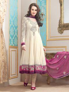 $116.16 Brown Full Sleeve Net Long Anarkali Salwar Kameez 21119