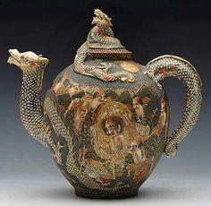 Dragon teapot. Japanese satsuma