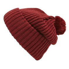 Topman 'Waffle Bobble' Knit Pom Beanie ($9.99) ❤ liked on Polyvore featuring men's fashion, men's accessories, men's hats and burgundy