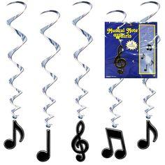 Musical Note Swirl Decorations - 5 Per Unit