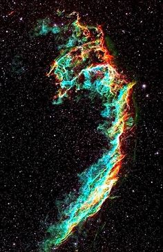 The Veil Nebula is a cloud of heated and ionized gas and dust in the constellation Cygnus. It constitutes the visible portions of the Cygnus Loop, a large but relatively faint supernova remnant. Distance to Earth: light years Hubble Space, Space And Astronomy, Space Telescope, Interstellar, Cosmos, Space Photos, Space Artwork, Across The Universe, Galaxy Space