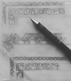 #border #pattern #otantic #drawing  #sketch Border Pattern, Pattern Design, Islamic Patterns, Kids Patterns, Stenciling, Stone Carving, Textile Prints, Islamic Art, Pattern Wallpaper