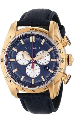 Versace Men's VDB030014 V-Ray Rose Gold-Tone Watch With Blue Leather Strap Best Price