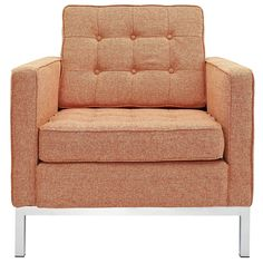 """Living room - Images of Modway EEI-184-ORT Loft 16"""" Armchair with Rich Wool Upholstery, Tufted Seat/Back with Buttons, Tubular Stainless Steel Frame, and Foot Caps, in Orange 