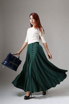 Falda verde falda de lino falda abotonada maxi falda falda