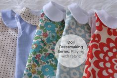 Doll Dressmaking Series: Playing with Fabric — Phoebe&Egg Sewing Doll Clothes, American Doll Clothes, Sewing Dolls, Girl Doll Clothes, Girl Dolls, Rag Dolls, Fabric Dolls, Doll Dress Patterns, Clothing Patterns