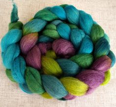 Hand Dyed BFL/Silk Combed Top 4 Oz  Peacock Moon by FriendsinFiber, $16.00
