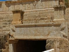 Detail of inscription in Latin-Punic above the stage entrance of the theatre at Leptis Magna, Lybia