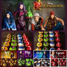 Disney Descendants Villains party - Cupcake ideas. READ IT:  http://grown-up-disney-kid.tumblr.com/post/131391331244/how-to-have-a-wickedly-evil-descendants-party