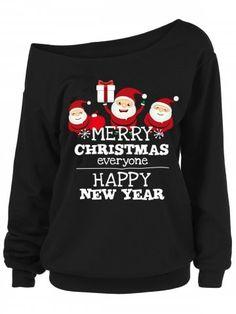 a1776f027e458 Plus Size Santa Claus Letters Skew Neck Sweatshirt - BLACK - 5X Next  Dresses