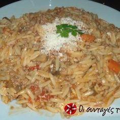 Γιουβέτσι με κιμά 2 Cookbook Recipes, Cooking Recipes, Greek Recipes, Recipies, Rice, Pasta, Chicken, Meat, Ethnic Recipes
