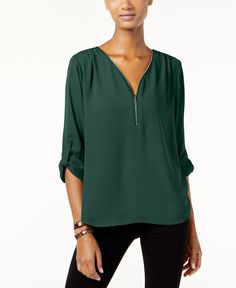 Inc International Concepts Roll-Tab Zip-Trim Blouse, Only at Macy's