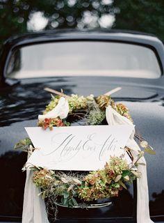 Elegant Wedding Getaway Car Wreath   photography by josevillablog.com/