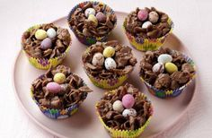 Chocolate Cornflake Nests (grams) 100g milk chocolate 50g butter 2tbsp golden syrup 100g cornflakes Mini sugar coated Easter eggs
