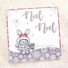 Carol Singing Bunny with a Large Christmas Greeting embossed in silver Christmas Greetings, Christmas Cards, Paper News, Digi Stamps, Lily Of The Valley, Cardmaking, Singing, Bunny, Paper Crafts
