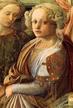 """Lippi. Le couronnement de la Vierge, détail (1441-47)- La vie d Filippo Lippi, ou Fra Filippo Lippi, est celle d'un homme entré dans les ordres malgré lui. Sa vocation profonde était la peinture. Aussi le considère-t-on à son époque comme un moine """"scandaleux"""" qui ne respecte pas ses voeux et particulièrement celui de chasteté. Lippi est orphelin et recueilli très jeune par les moines du couvent des Carmes de Florence."""
