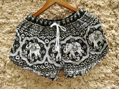 Black Elephants Boho Print Summer Beach Shorts Chic Hipster Fashion Tribal Aztec Ethnic Clothing Bohemian Cloth Cute Festival in white by TribalSpiritShop on Etsy https://www.etsy.com/listing/240145755/black-elephants-boho-print-summer-beach