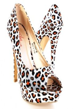 Silver Metallic Cheetah Printed Round Peep Toes Pump Heels