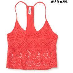Aeropostale Map to Mars Lace Crop Cami ($6.99) ❤ liked on Polyvore featuring tops, tank tops, poppy field, lace camisole, aéropostale, red lace cami, red camisole and red lace camisole