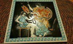 VTG Greek Handmade by Niarchos Decor Enamel Tile Trivet 1970s Thetis Achilles