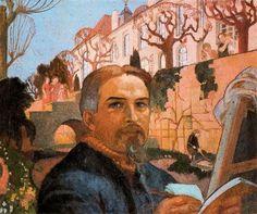 'Self-Portrait With His Family in Front of Their House,' Maurice Denis, Post-Impressionism. Maurice Denis, Paul Gauguin, Pierre Bonnard, Edouard Vuillard, Saint Germain, Art Français, Avant Garde Artists, French Artists, Religious Art
