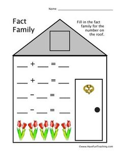Free Fact Family Worksheet. Fill in the fact family for the number on the roof. Brought to you by Have Fun Teaching!